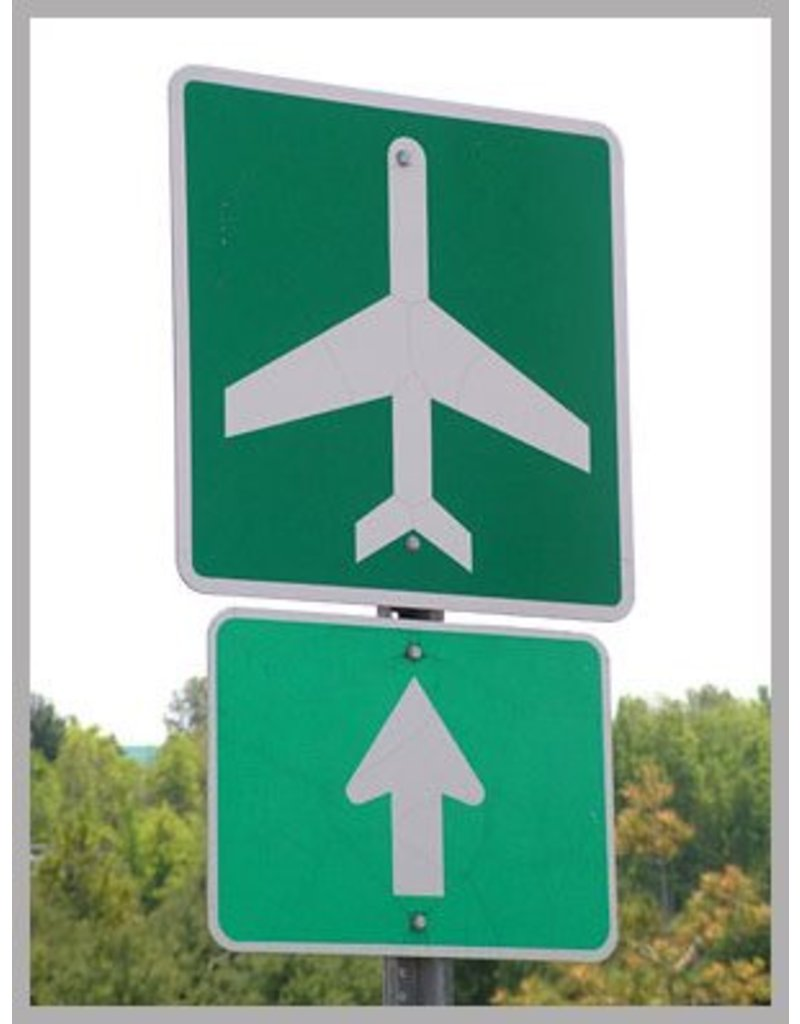 AIRPORT AHEAD METAL REFLECTIVE SIGN