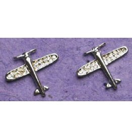 AIRPLANE Silver Crystal Earrings