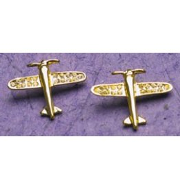 AIRPLANE Gold Crystal Earrings