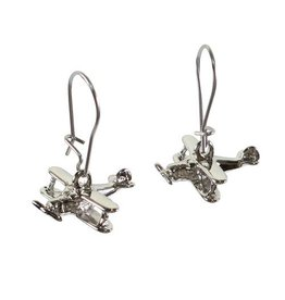 Silver Biplane Earrings