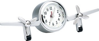 TWIN AIRPLANE DESK CLOCK, METAL. SILVER