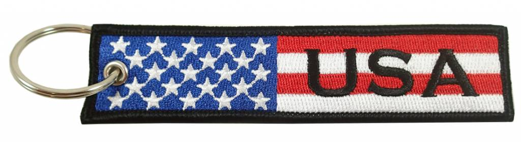 USA FLAG Embroidered Keychain