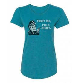 TRUST ME I'M A PILOT T-SHIRT, WOMEN'S, TEAL
