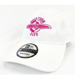 AVIATION LIFE CAP, WHITE & PINK