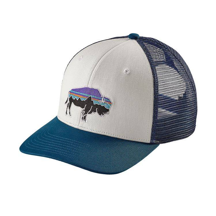 Patagonia Patagonia Fitz Roy Bison Trucker Hat - White w/Big Sur Blue