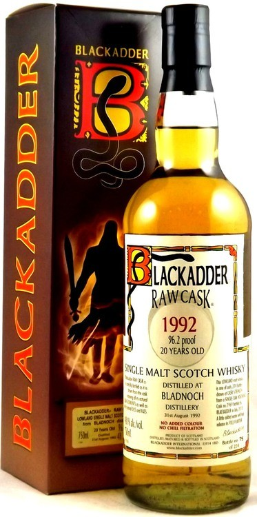 Scotch Blackadder Raw Cask 1991 Bladnoch 109.4 proof Single Malt Scotch 750ml