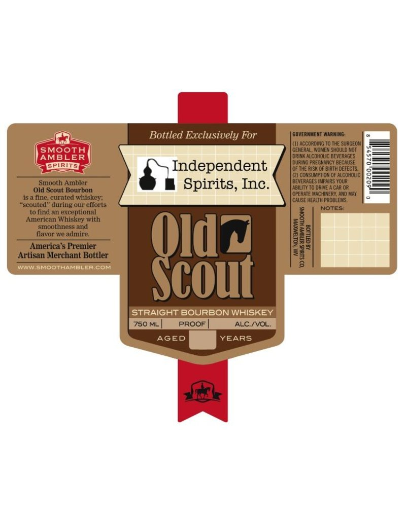 """Bourbon Smooth Ambler 10 Year """"Old Scout"""" Bourbon Barrel #2314 Cask Strength 98.8 Proof Bottled Exclusively For Independent Spirits, Inc. 750ml"""