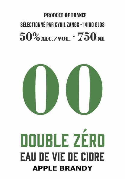 """Brandy Cyril Zangs """"Double Zéro"""" Eau de Vie de Cidre Apple Brandy 50% abv 750ml"""