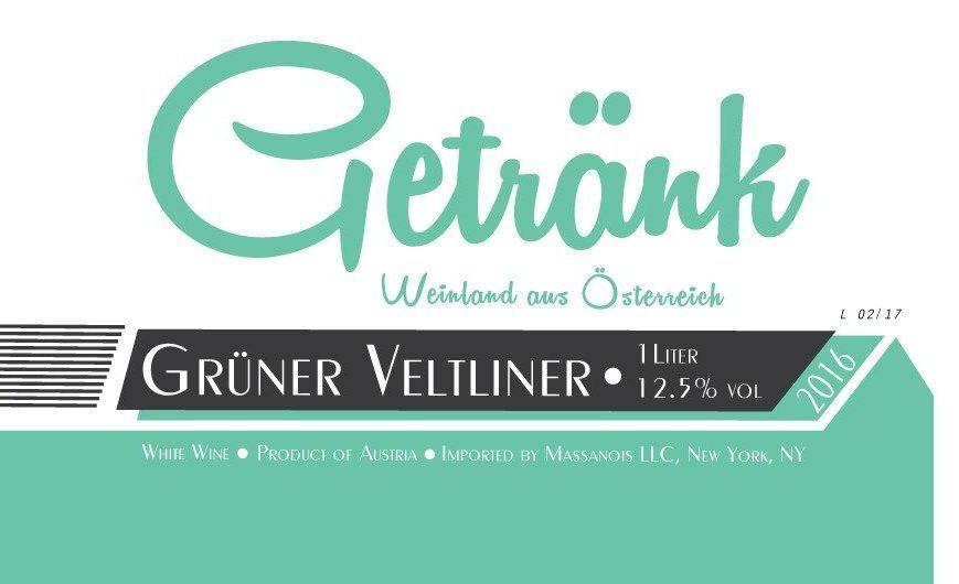 Austrian Wine Getrank Gruner Veltliner 2017 1L