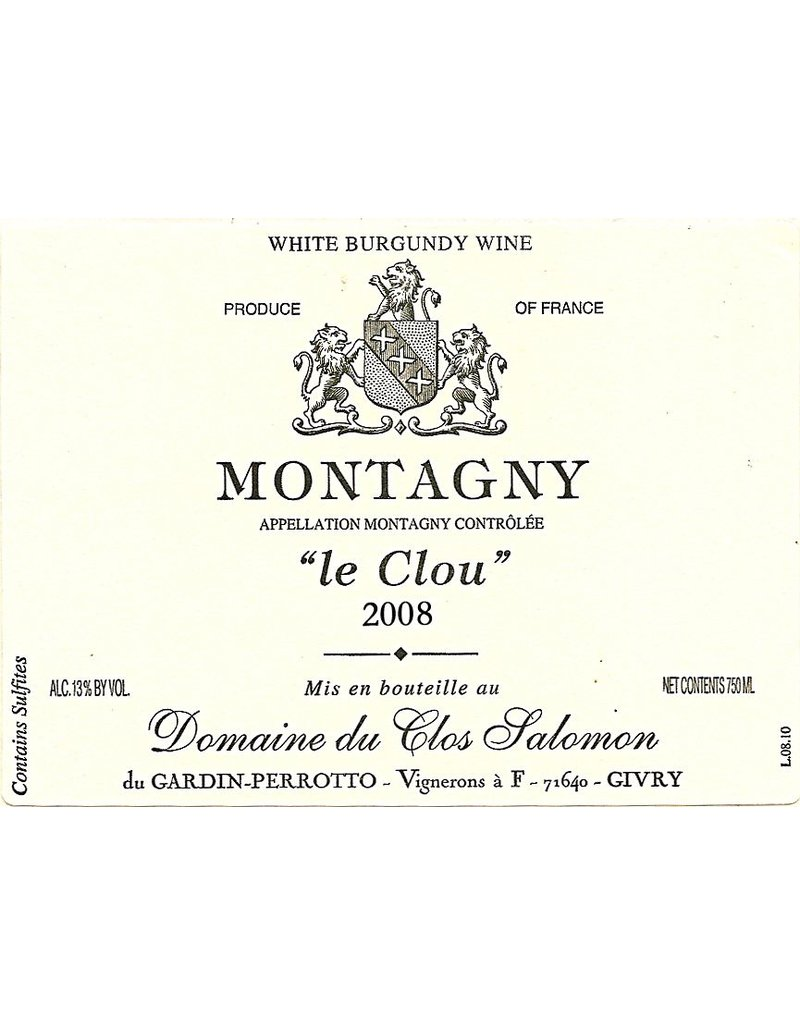 "French Wine Doimaine de Clos Salomon Montagny ""Le Clou"" 2006 750ml"