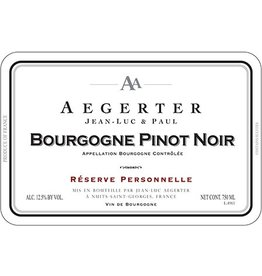 "French Wine Jean Luc & Paul Aegerter Bourgogne Pinot Noir ""Reserve Personnelle"" 2014 750ml"