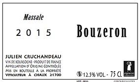 """French Wine Julien Cruchandeau Bouzeron """"Massale"""" Aligote 2015 750ml"""