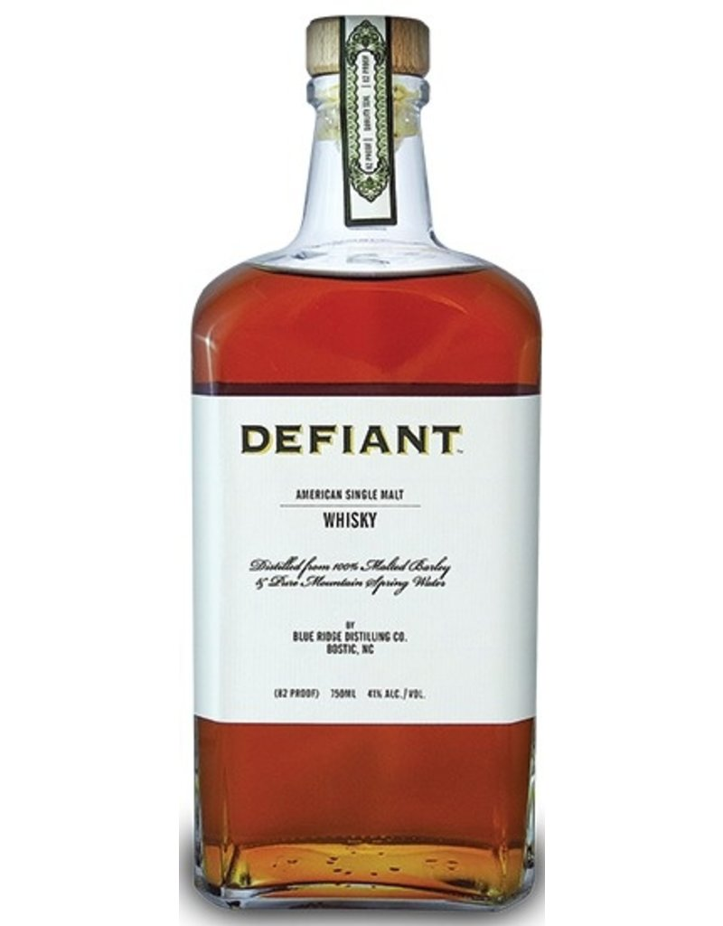"Whiskey ""Defiant"" American Single Malt Whisky Blue Ridge Distilling Co. Golden Valley, NC 750ml"
