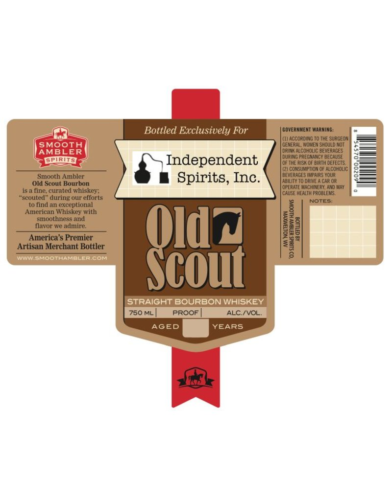 "Bourbon Smooth Ambler 8 Year ""Old Scout"" Independent Spirits, Inc. Cask Strength Bourbon Bottled Exclusively for Independent Spirits, Inc. 750ml"