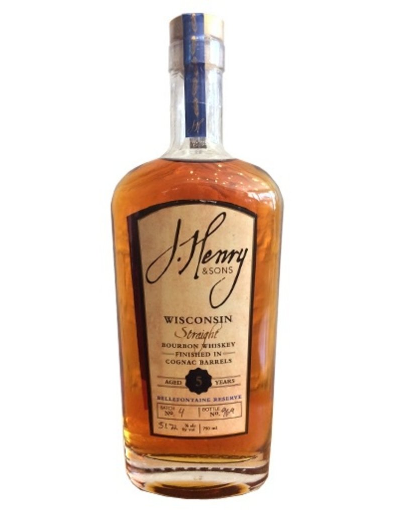 """Bourbon J. Henry & Sons """"Bellefontaine Reserve"""" 5 Year Straight Bourbon Whisky Finished in Cognac Barrels 750ml"""