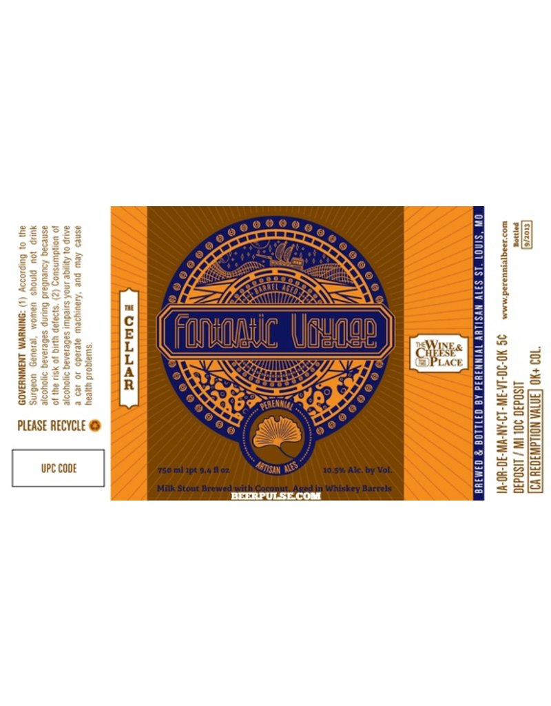 """Beer Perennial """"Fantastic Voyage"""" Milk Stout Brewed with Coconut 750ml"""