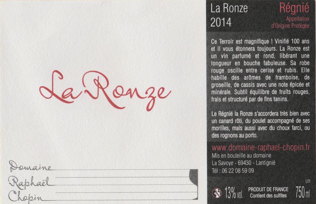 """French Wine Domaine Raphael Chopin """"La Ronze"""" Régnié 2016 750ml"""