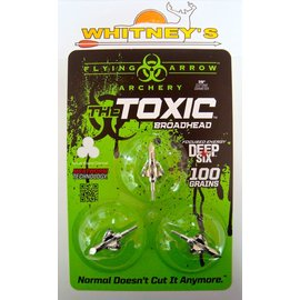 "Flying Arrow Archery Flying Arrow Archery Deep Six Toxic Broadhead 100 Gr. Silver 7/8""-3PK T3100-D6"