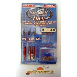 Muzzy Products Muzzy MX-4 100Gr. 4 Blade Broadhead -Screw In Red -3 Pk-209-MX4-3