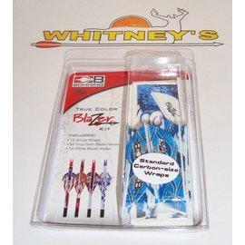 Bohning Company, LTD Bohning Blazer Vanes/Wrap Combo-Blue Rusted Flame-101040BRF