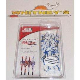 Bohning Company, LTD Bohning Blazer Vanes/Wrap Combo, Blue & White Flame-101040BWF
