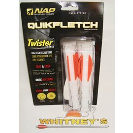 "New Archery Products (NAP) NAP 2"" Twister Quikfletch 6 pack - Orange/white- 60-637"