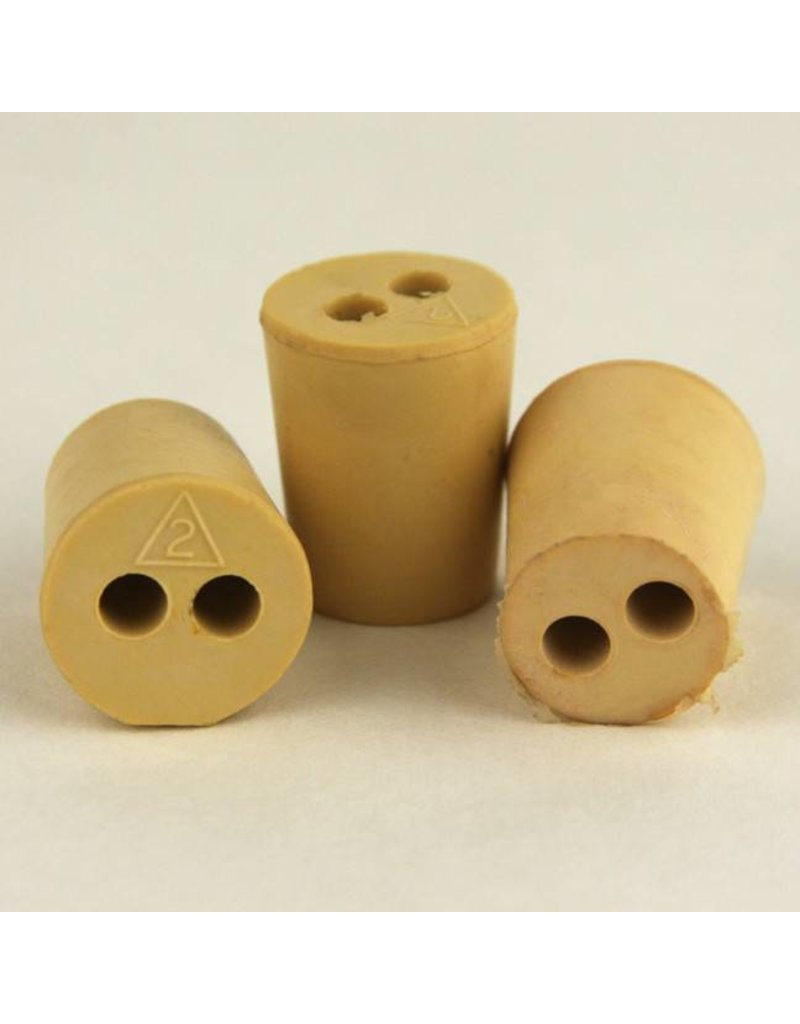 """Drilled Rubber Stopper #2, with Two 3/16"""" Holes"""