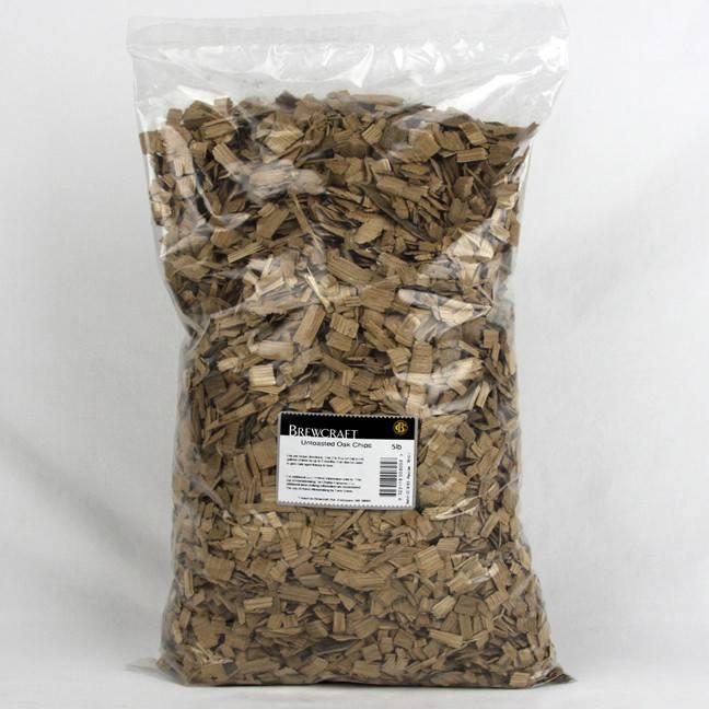 Oak Chips, Untoasted - 5 LB / 2.268 kg Bag