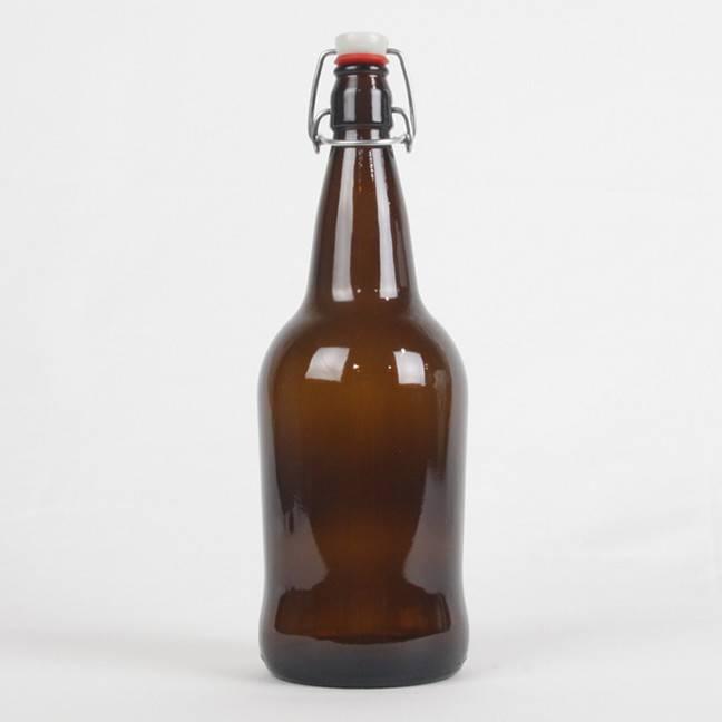 Amber EZ Cap Bottles, Litre - Case/12 with caps