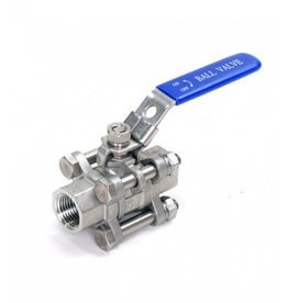 Three Piece Stainless Ball Valve 1/2""