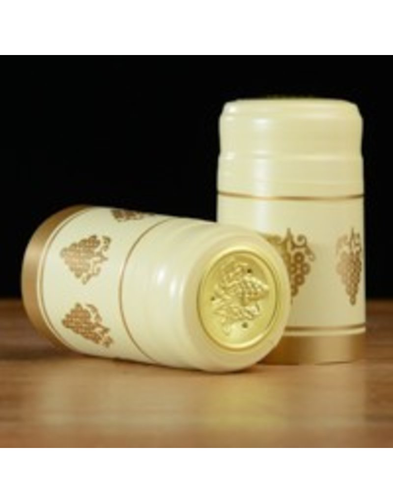 Ivory w/Gold Grapes PVC Capsules, 15 pack