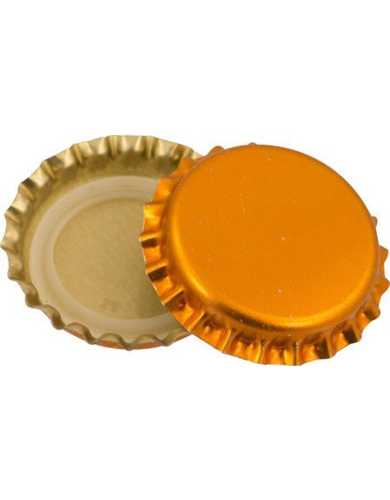 144 each- Oxygen Barrier Metallic Orange Caps