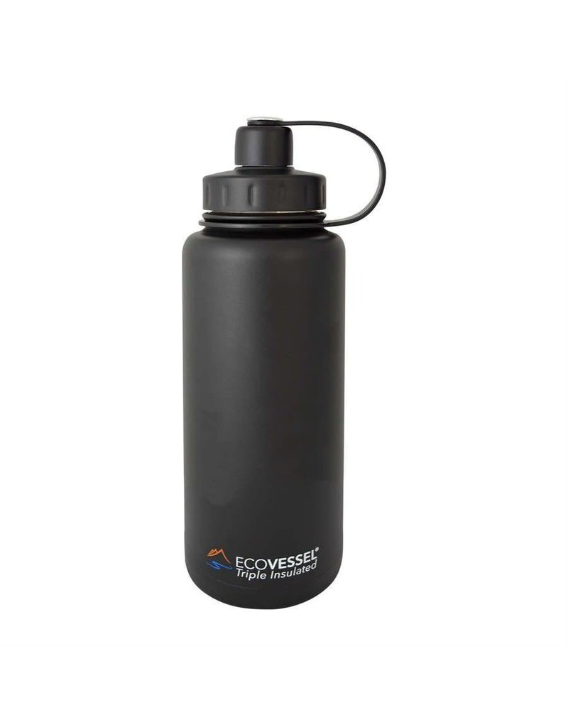 EcoVessel BOULDER Triple Insulated SS Growler, 32 oz (Black)