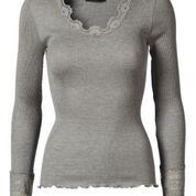 Rosemunde Long Sleeve Silk Blend Tee with Lace