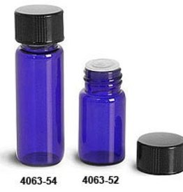 Glass Vial 5/8 Dram-Blue w/orifice reducer