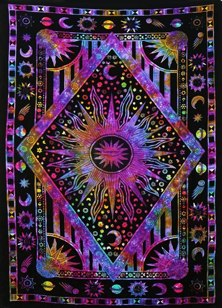 Twin Blue Tie Dye Purple Burning Sun Tapestry (54x85)