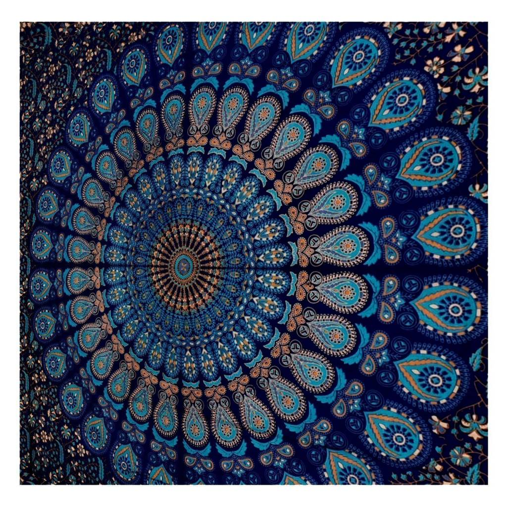 Blue Tapestry Wall Hanging Mandala (86 X 56)
