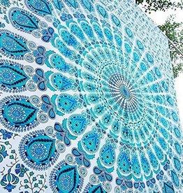 Tapestry Cotton Mandala (90 X 54) Light Blue