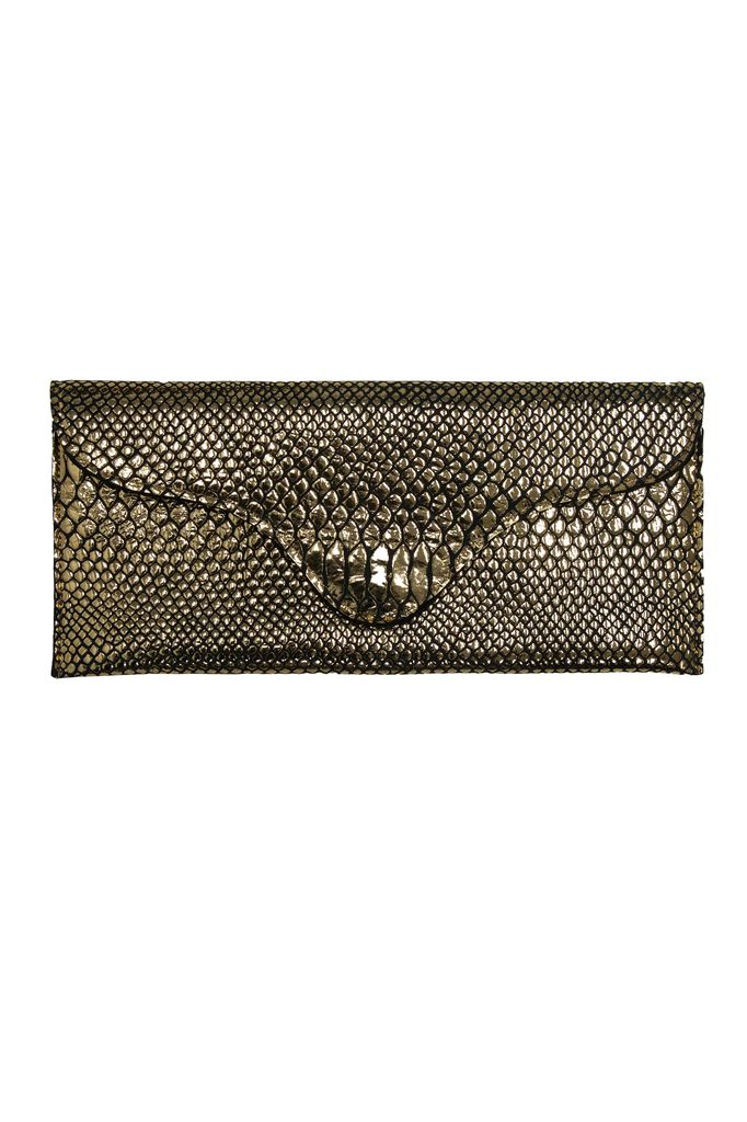 jj Winters Bree Clutch in Gold Cobra