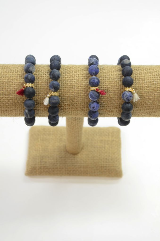BRACHA Lapis agate with mini tassel bracelet
