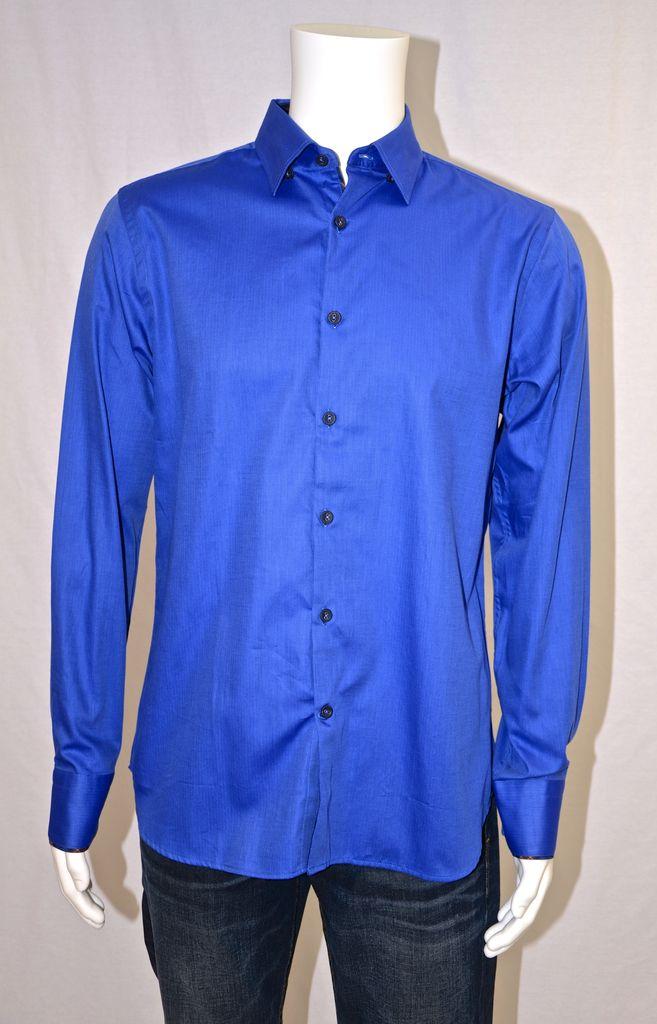 Stone Rose Fine Herringbone Cobalt Shirt