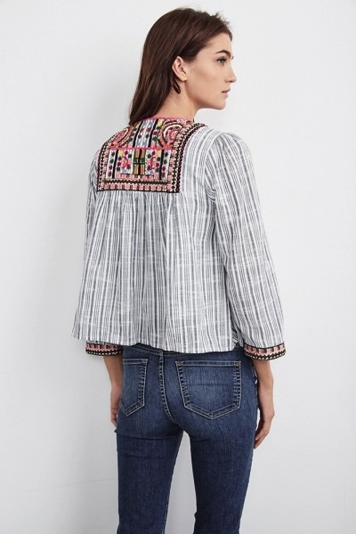 Velvet Women Mckay Embroidered Lightweight Cotton Jacket