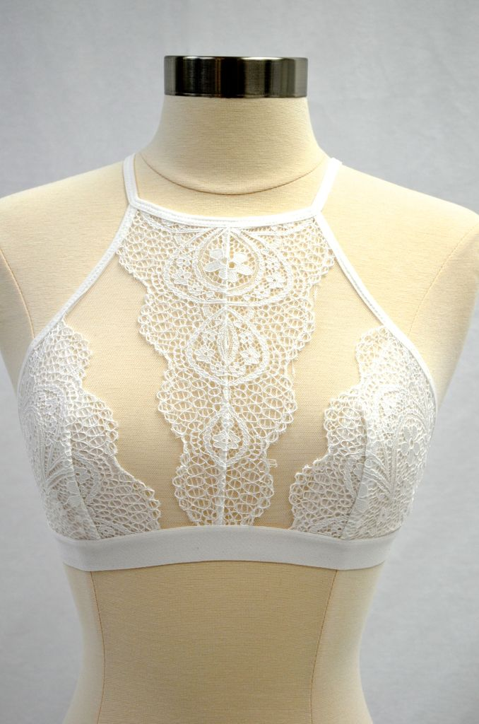 By Together White High Neck Bralette