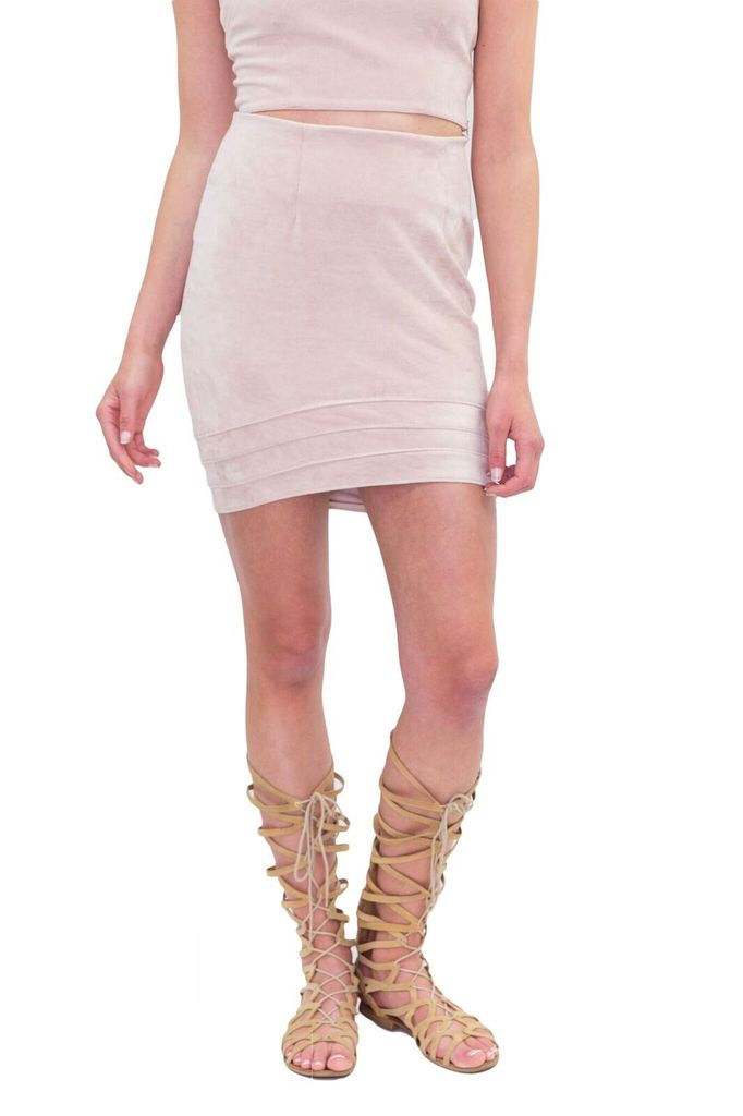 New Friends Colony Faux Suede Mini Skirt
