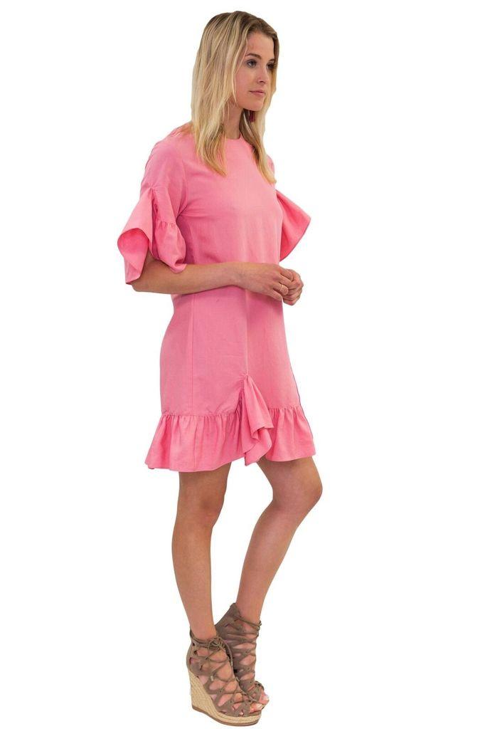ZERO 2 SKY Tie Belted Ruffle Dress