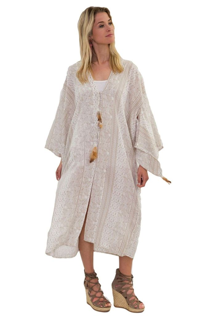 Z&L Long Printed Kimono with Feather Details