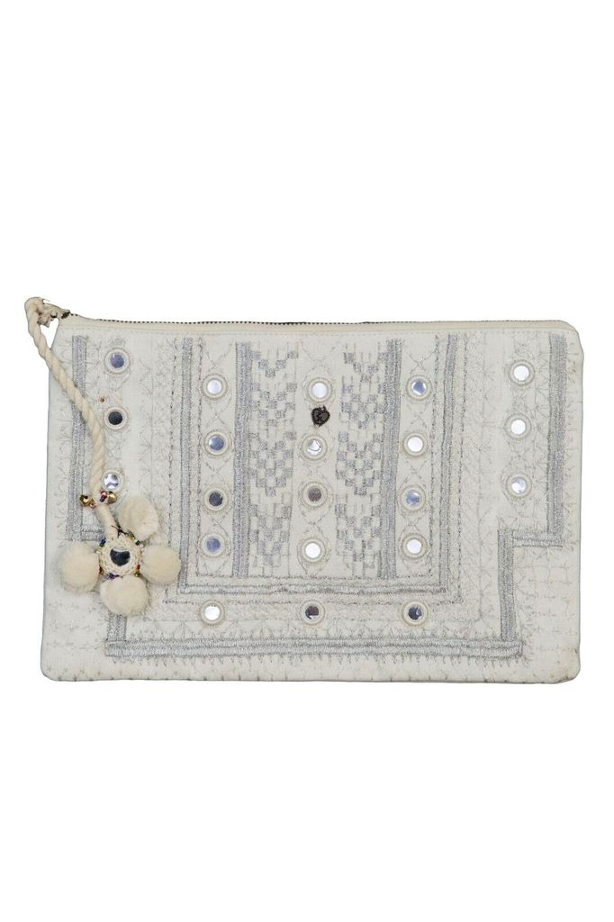 Z&L White and Beaded Embroidered Bag