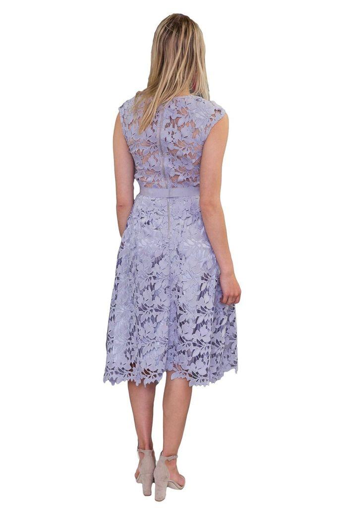 Forever Unique Laila Grey Floral Lace Midi Dress