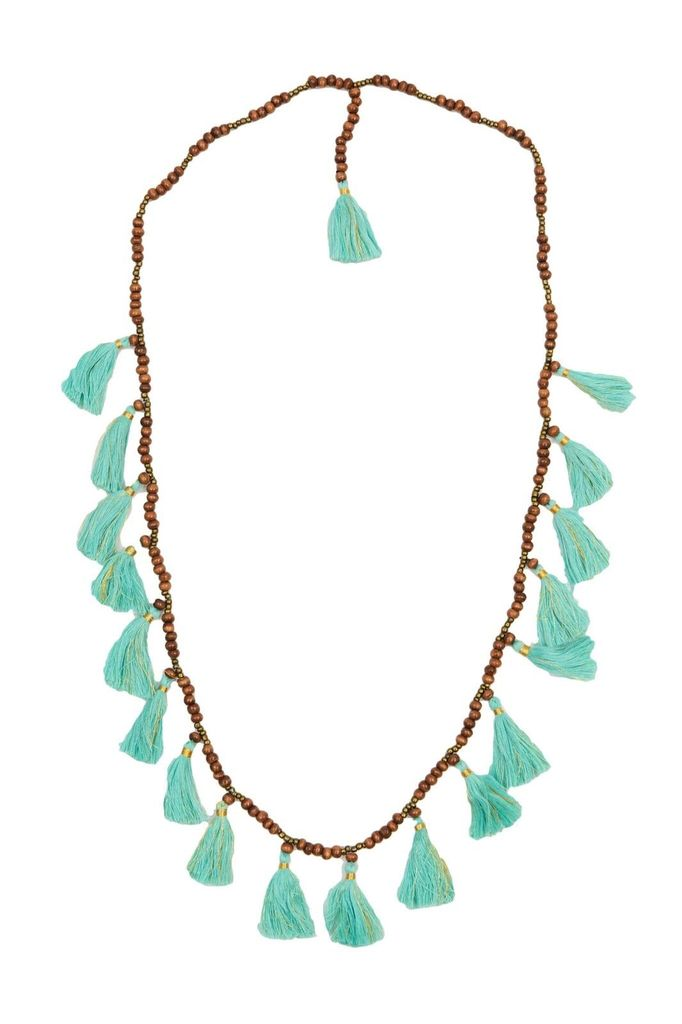 Z&L Tassel Necklace with Wood Beads in Aqua