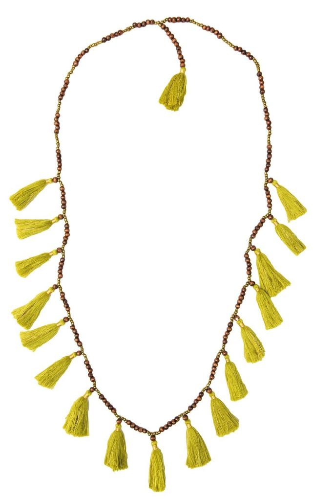 Z&L Tassel Necklace with Wood Beads in Green